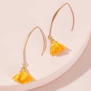 Marigold Yellow Flower Dangle Drop Earrings